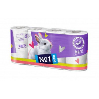 Туалетная бумага из целлюлозы (рулончики). Karo, белая уп. по 8