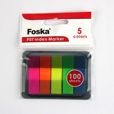 Клейкі закладки PET, 12 х 45mm, 5 кольорів х 20 листів