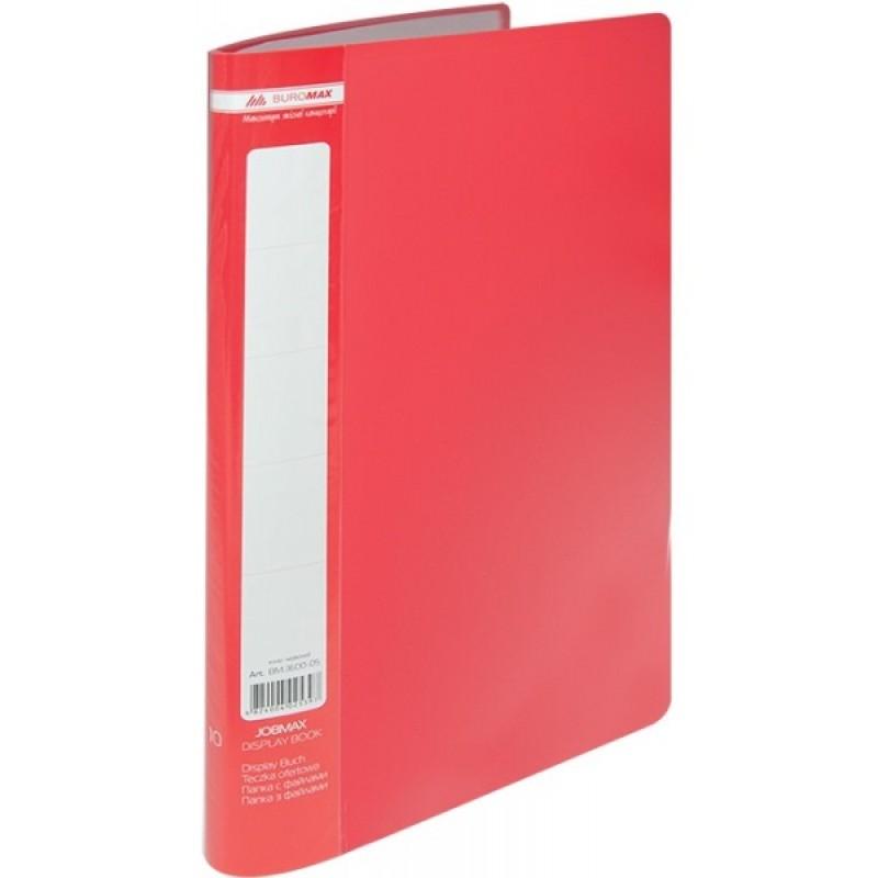 Папка с 10 файлами А4 JOBMAX, красный