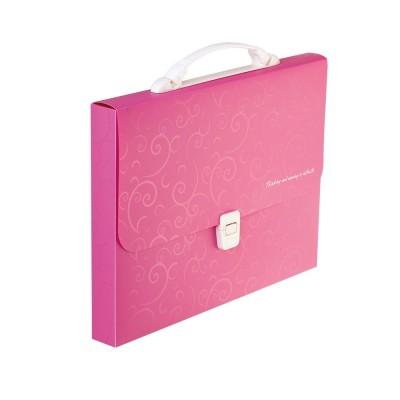 Портфель пластиковый A4 / 35мм, BAROCCO, розовый