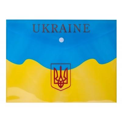 Папка-конверт на кнопке B5, UKRAINE, желтая