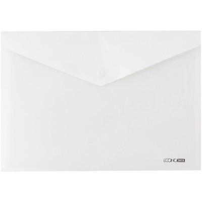 """Папка-конверт А5 непрозрачная на кнопке Economix, 180 мкм, """"глянец"""", белая (E31316s-14)"""