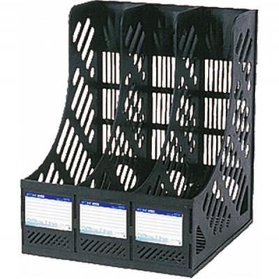 Лоток для бумаг вертикальный сборный на 3 отделения Economix, пластик, черный E31903-01
