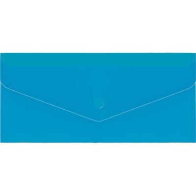 "Евроконверт Е65 прозрачный на кнопке, 180 мкм, фактура ""глянец"", синий (N31306-02)"