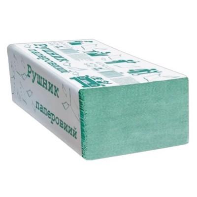 Полотенца бумажные макулатурные, V-сложения, зеленый, 200 шт.