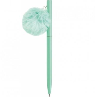 Ручка металлическая бирюзовая с брелоком-помпоном, пишет синим