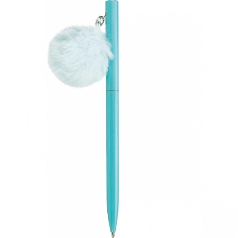 Ручка металлическая голубая с брелоком-помпоном, пишет синим