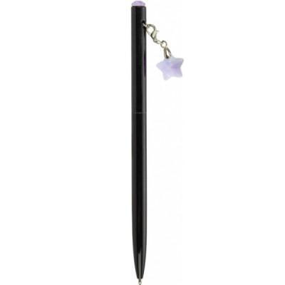 """Ручка металлическая с сиреневым брелоком-кристаллом """"Звезда"""", пишет синим"""