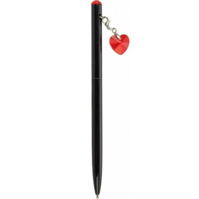 """Ручка металлическая с красным брелком-кристаллом """"Сердце"""", пишет синим"""