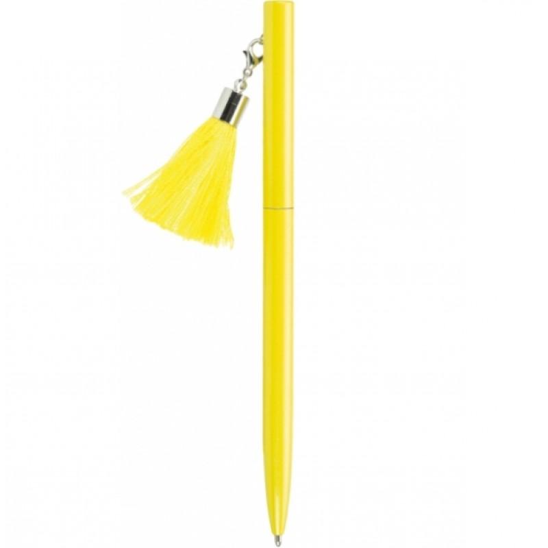 Ручка металлическая желтая с брелоком-кисточкой, пишет синим