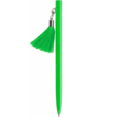 Ручка металлическая зеленая с брелоком-кисточкой, пишет синим