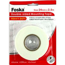 """Двухсторонний скотч 1,5"""" 24mm х 2.5m Foska"""