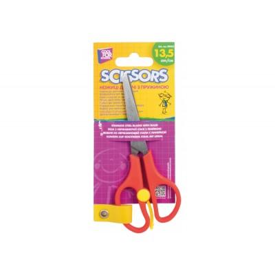 Ножницы детские 13,5 см с пружиной и линейкой
