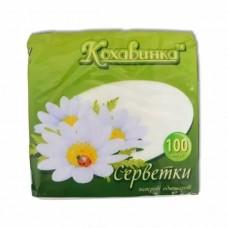 Салфетки целлюлозные Кохавинка однослойные 100 шт, белые