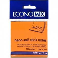 Блок для заміток з клейким шаром 75х75 мм Economix, 100 л., Неон помаранчевий