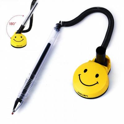 Ручка гелевая Deli 6793 черная 0,5мм на подставке поворот. Смайл