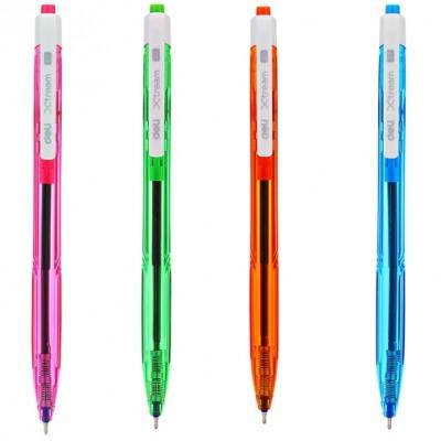 Ручка шариковая Deli EQ02830 голубая Xtream 0,7 автомат неоновый корпус белый клип