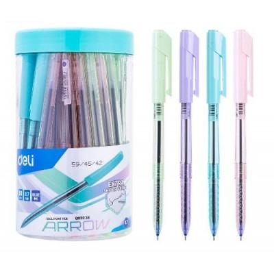 Ручка шариковая Deli EQ03036 синяя Arrow 0,7 тонированный пастельный корпус, туба
