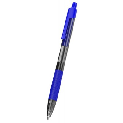 Ручка шариковая Deli EQ01930 синяя Arrow 0,7 автомат резиновый грип, тонированный корпус