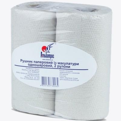 Полотенца бумажные в  руллонах с перфорацией и тиснением, 200 отрывов, 2 рул. в пачке