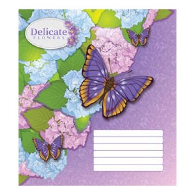 Тетрадь 24 листа в линейку (2727л) Бабочки на цветах