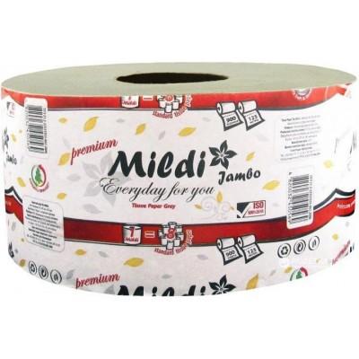 Туалетная бумага Mildi Premium Jambo однослойная (195х90 мм), 900 отрывов, 125 метров, серая
