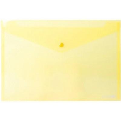 """Папка-конверт А5 прозрачная на кнопке Economix 180 мкм фактура """"глянец"""", желтая"""