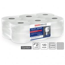 Туалетная бумага целлюлозная двухслойная 120 м PRO service Comfort 12 рулонов/упаковка
