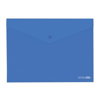 """Папка-конверт В5 прозрачная на кнопке Economix, 180 мкм, фактура """"глянец"""", синяя"""