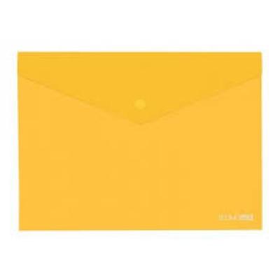 """Папка-конверт В5 прозрачная на кнопке Economix, 180 мкм, фактура """"глянец"""", желтая"""