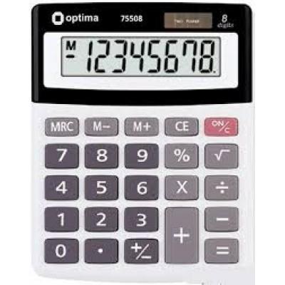 Калькулятор настольный Optima 8 разрядный, размер 134*107*34 мм