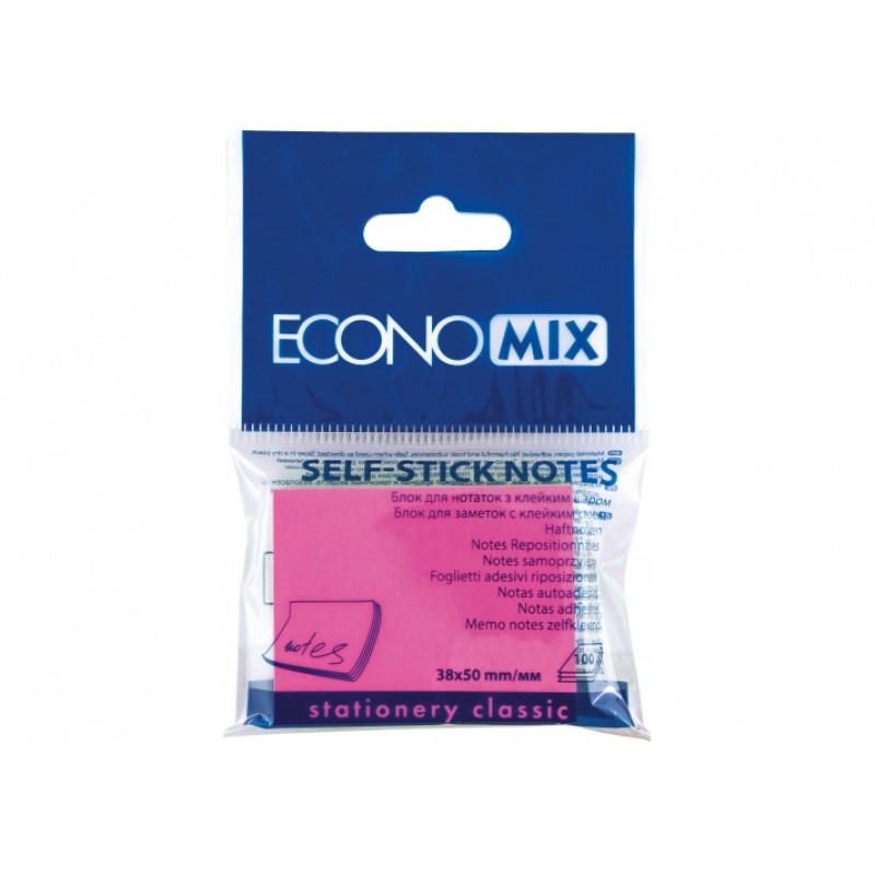 Блок для заметок с клейким слоем 38 * 50 мм Economix, 100 л., розовый