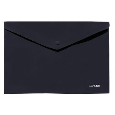 """Папка-конверт А4 непрозрачная на кнопке Economix, 180 мкм, фактура """"Апельсин"""""""", черная"""