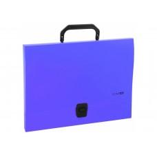 Портфель пластиковый А4 на застежке под нанесение, 1 отделение, синий
