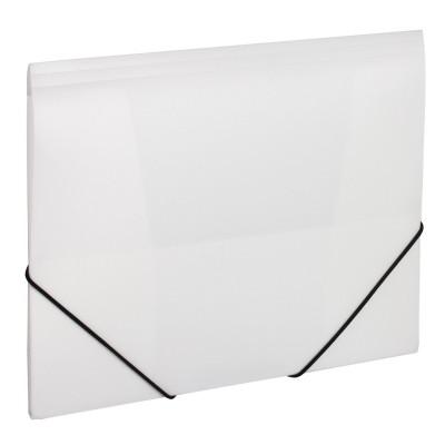 Папка пластиковая для документов А4 на резинках под нанесение, белая