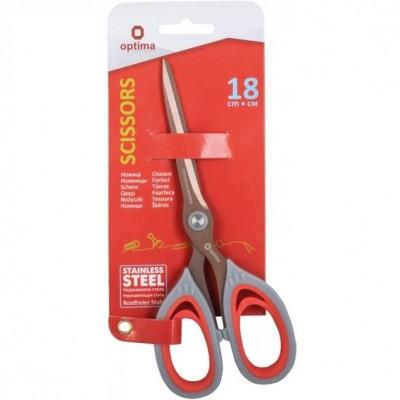 Ножницы 18 см Optima, пласт. ручки с резин. вставками