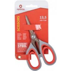 Ножницы 13,5 см Optima, пласт. ручки с резин. вставками