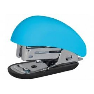 Скоросшиватель №24 / 6, 26/6 мини Optima до 12 л, Soft Touch, пласт. корпус, голубой