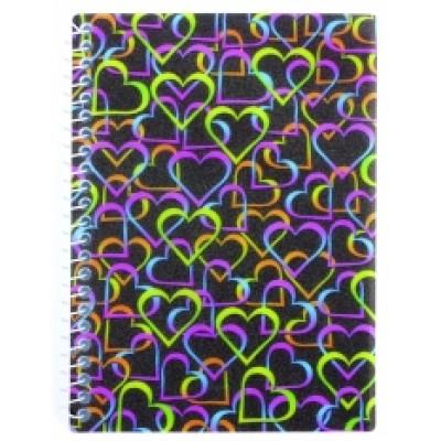 """Блокнот """"Валентинка"""" А6, обложка - полноцветная пластик, боковая спираль, 48 л., Ассорти"""