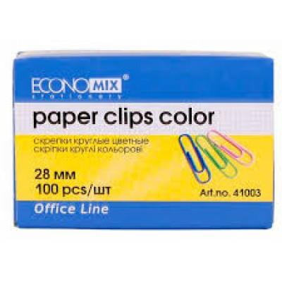 Скрепка 28 мм круглая Economix, цветная, 100 шт
