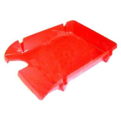 Лоток для бумаг горизонтальный Economix, пластик, красный непрозрачный