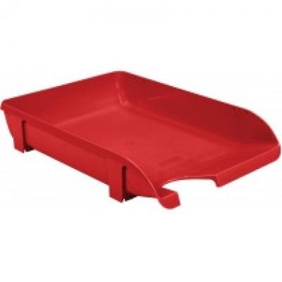 """Лоток для бумаг горизонтальный """"Компакт"""" Economix, пластик, красный непрозрачный"""