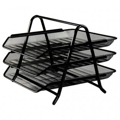 Лоток для бумаг горизонтальный тройной Optima металл сетка, черный