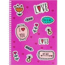 """Блокнот """"Valentine: Stickers"""" А5 (150х200 мм), пластикова обкладинка, спіраль, 80 аркушів, клітинка E21951-07"""