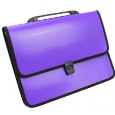 Портфель на застежке, фактура Вышиванка, фиолетовый