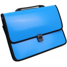 Портфель на застежке Economix, фактура Вышиванка, голубой