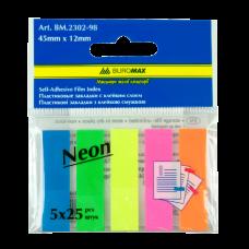Закладки пластиковые, с клейким слоем NEON 45х12мм, 5x25 листов, ассорти