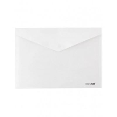 Папка конверт непрозрачная А4 на кнопке Экономикс,180 мкм фактура глянец, белая