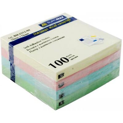 Блок для заметок 76х76 мм, 100 лист., ассорти