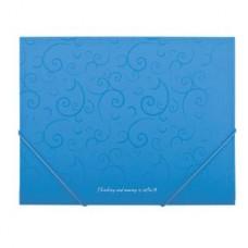Папка пластиковая А5 на резинках голубая Barocco